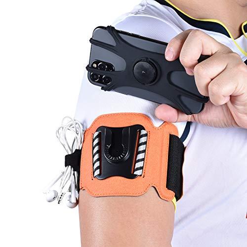 MIJOBS Brazalete Deportivo, Brazalete para el Antebrazo Transpirable con 360° Rotación y Bolsillito de Llaves para iPhone X/XR/7/8 Plus/6s,Samsung Galaxy S8/S9 Plus de 4'-6.5' (2 IN 1)