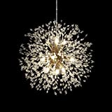 HUOKU Chandelier Modern Crystal Pendant Lighting,Gold Dandelion Firework Chandelier,Ceiling Pendant Lamp for Dining Room, Bedroom, Kitchen, Living Room(9-Lights,Dia 23.5 Inch)