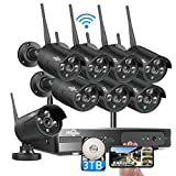【3TB HDD Pre-Install】 Hiseeu Wireless Security Camera System, 8CH 1080P NVR 4Pcs Outdoor/Indoor WiFi Surveillance Camera with Night Vision, Waterproof, Motion Alert, Remote Access