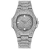 Mens Uhren, Luxury Brand Fashion Diamond Date Quartz Watch, Diamond Luxury Brand Watches Mens...