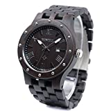 Bewell W109A Men Wooden Quartz Watch Round Dial Analog Handmade Wood Wristwatch (Ebony)