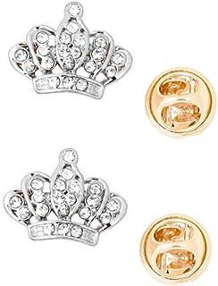 Generico Moda Corona Colletto da Camicia Pin Collare Spilla Suggerimenti Argento Uomo