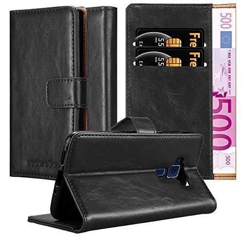 Cadorabo Hülle für Asus ZenFone 3 in Graphit SCHWARZ – Handyhülle mit Magnetverschluss, Standfunktion & Kartenfach – Hülle Cover Schutzhülle Etui Tasche Book Klapp Style