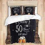 CANCAKA Bedding Juego de Funda de Edredón,Felice cinquantesimo Compleanno Vintage Rustico in Legno Plank Cheers Birre Festa di Compleanno,Funda de Nórdico y Fundas de Almohada-(Cama 220 x 240cm)