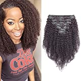 Silk-co Extensiones de Clips de Pelo Natural Double Weft 30cm #1B Negro Natural 8 pcs Cabello Brasileño 105g Kinky Curly 100% Human Hair