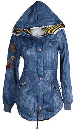 Italy Donna dames sportieve hoodie jeans jogging sweatjas overgangsjas fleece gevoerd capuchon parka mantel 34 36 38 40 42 XS S M L overgang blauw bloemen print
