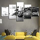 DBFHC Art Cuadros En Lienzo Gimnasio De Deportes Decoracion De Pared 5 Piezas Modernos Mural Fotos para Salon Dormitori Baño Comedor 150X100Cm