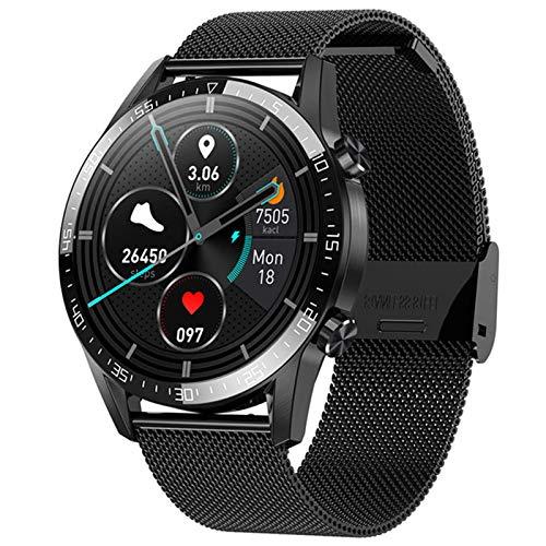 XQPK T03 Deportes Hombres Smart Watch Temperatura Fitness Frecuencia Cardíaca 1.28 Pulgadas Ip68 Correa de Acero Impermeable Correa de Silicona 6 Relojes (D)