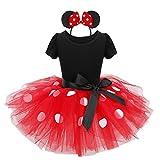 YiZYiF Mädchen Kinder Kostüm Ballettkleid Geburtstag Party Karneval Fasching Cosplay Halloween Kostüm Kleid mit Ohren (104-110, Schwarz + Rot)