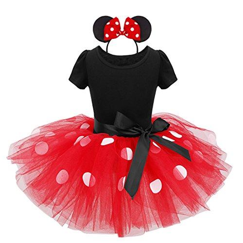 FEESHOW Mädchen Tutu Rock Kleid Oberteil Gepunkte mit Maus Ohren Haarreif Schleife Kinder Kostüm für Party Geburtstag Rot 8 Jahre