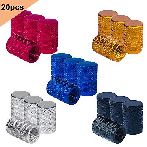 QitinDasen 20Pcs Premium Tapas Vástago Válvula Neumático, Cubiertas Polvo de Válvula Neumático Moleteado de Aleación Aluminio, Tapas a Prueba Polvo de Válvula Universal Schrader con Junta (5 Colores)