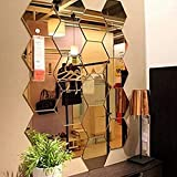 Mirror Wall Stickers, 12PCS Hexagon Mirror Art DIY Home Decorative Hexagonal Acrylic Mirror Wall SheMirror Tiles for Home Living Room Bedroom Sofa TV Background Wall Decal Decoration Deco