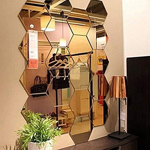 12 pegatinas de pared de espejo, diseño hexagonal, decoración para el hogar, decoración de pared de acrílico hexagonal, azulejos de plástico, hogar, sala de estar, dormitorio, sofá, TV