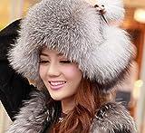 DDTT Venta Moda Invierno Genuino Piel de Zorro Sombreros, Invierno Cálido Sombreros de Piel Natural para Mujeres, Gorras Femeninas Sombreros Promocionales, Naturaleza Fox