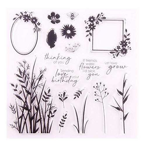 LZBRDY 6.5in Square Flower Leaves Branches Clear Stamps for Card Making and Scrapbooking Birthday Valentine
