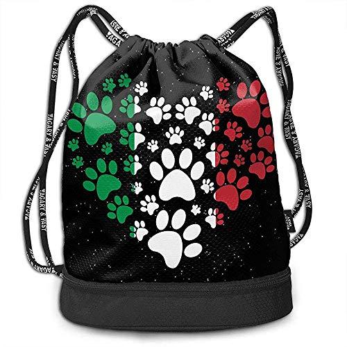 jenny-shop Italienische Flagge Katze Hund Pfote Herz Kordelzug Multifunktionale String Rucksack Benutzerdefinierte Cinch Rucksack Sport Gym Sack
