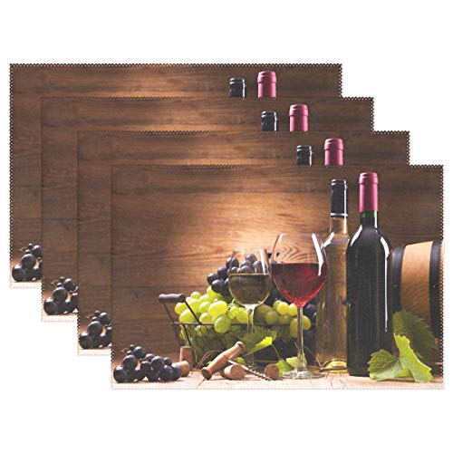visesunny Glasses Wine Grapes Wooden Pattern Placemat Set of 4 Table Mat Desktop Decoration Placemats Non Slip Stain Heat Resistant 12x18 in for Dining Home Kitchen Indoor