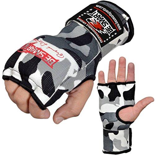 Guantes de boxeo Besmart interiores, con bandas para la mano, puño acolchado, vendas gel, para MMA, Muay Thai, gris y camuflaje, mujer hombre Infantil, color Gray Camo, tamaño Large