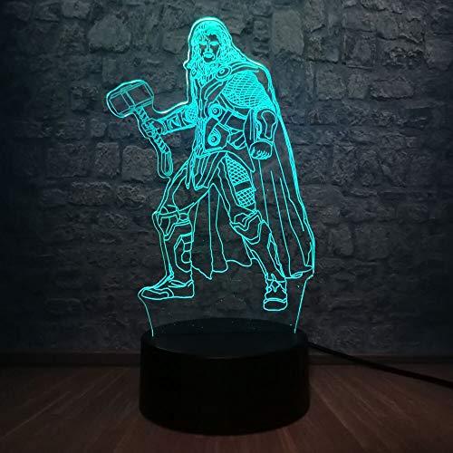 3D Tischlampe Kind Geschenk LED Nachtlicht Samurai Krieger Film Held Charakter Figur Super Schlafzimmer Schlaf USB mehrfarbig Farbe Urlaub Geschenk Junge