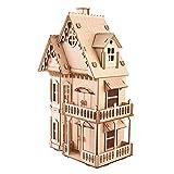 BHDD Rompecabezas de Madera 3D, Juguete de Rompecabezas de Villa 3D, Juego de construcción de artesanías educativas, Regalo de Rompecabezas de casa pequeña para aliviar la presión para niños