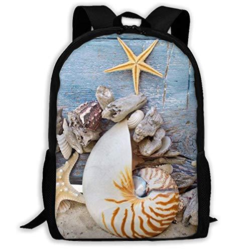 XCNGG Seashells Starfish Sand Bedruckter Reiserucksack, wasserdichte, leichte Laptoptasche mit Zwei Seitentaschen