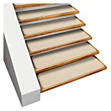 House, Home and More Set of 15 Skid-Resistant Carpet Stair Treads - Ivory Cream - 9 Inches X 36 Inches