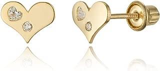 14k Yellow Gold Heart Cubic Zirconia Children Screwback Baby Girls Stud Earrings