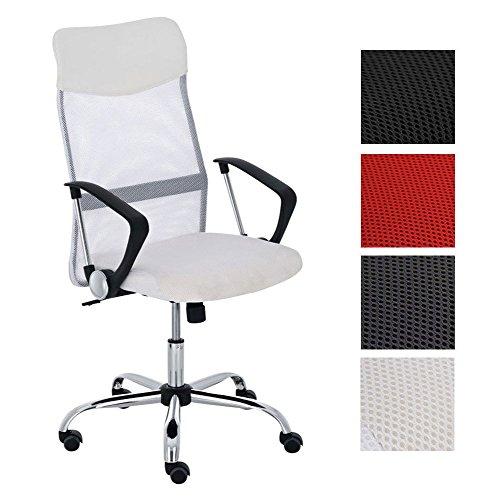 CLP Silla de oficina Washington V2, altura regulable con función basculante, silla de escritorio con funda de malla, cruz giratoria de metal estable, color blanco