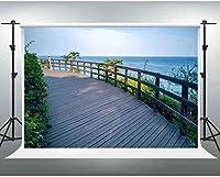 HiYash 10x8ft ビーチの背景青い海木製天文台レジャーリゾート写真背景誕生日パーティー赤ちゃんの誕生日の装飾バナー家の装飾スタジオ小道具ビニール素材