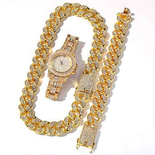 Hip-Hop-High-End-Volldiamant-Uhr, vergoldetes Armband, Armbanduhr, Schmuck, Herren und Damen, dreiteiliges Geschenk-Set, Geschenk (Gold, Silber), Uhr-Gold