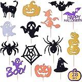 Get Fresh Halloween Cupcake Toppers Set, 28pcs Sparkly Set, Bat Witch...