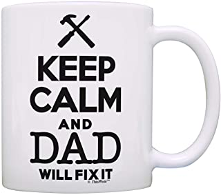 Father's Day Gift Keep Calm Dad Will Fix It Birthday Gift Gift Coffee Mug Tea Cup White