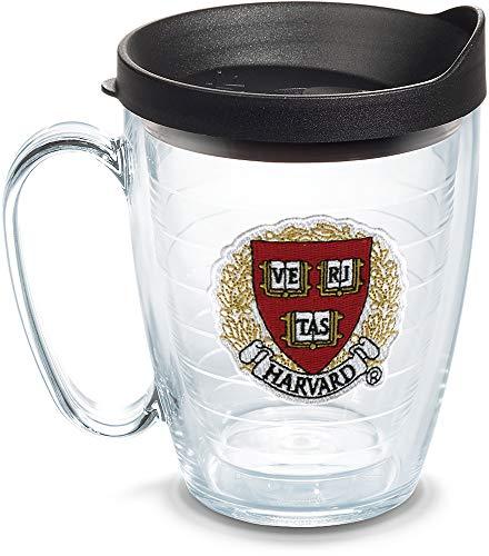 Tervis Caneca com logotipo Harvard Crimson com emblema e tampa preta 473 ml, transparente