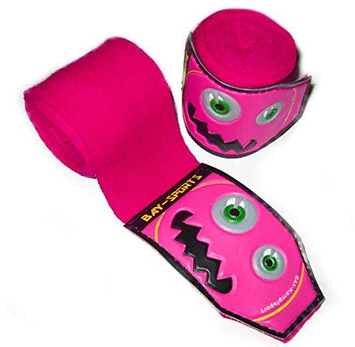 """BAY® monster face 3D \""""KIDS JUNIOR basic 2,5\"""" Boxbandagen SPEZIELL FÜR KINDER PINK ROSA + WICKELANLEITUNG, elastisch und etwas dünner, 2,5 Meter x 5 cm, Box-Bandagen, Paar Tapes Faustbandagen Handbandagen für Boxhandschuhe Boxen Kickboxen Kampfsport MMA Muay Thai Thaiboxen Relief Carbon Look"""