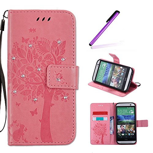 EMAXELERS HTC One M8 Hülle Wishing Tree Muster PU Leder Flip Cover Wallet Hülle im Handyhülle Ledertasche Hülle Tasche mit Standfunktion & Karte Halter für HTC One M8,Pink Wishing Tree with Diamond