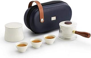 GRXXX Juego de té de Viaje, Tetera de Rayas Verticales con Forma de Valla, tazón de Cubierta de cerámica de Vidrio Creativ...