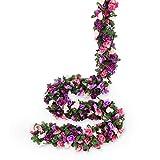 Miracliy 8 pcs 66 FT Flower Garland Fake Rose Vine Artificial Flower Hanging Rose Ivy Home Hotel Office Wedding Party Garden Craft Art Décor (Pink+Purple)