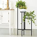 3 Tier Tall Metal Plant Stand 38 Inch High Flower Pot Holder Stand, Y&M Modern Indoor Plant Stand with 3 Metal Trays for Garden Outdoor Black