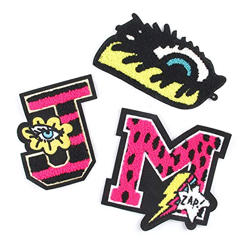 Iron on Patches/Sewing Patch,Patches for Clothes,Embroidery Applique, 3pcs Color Letters, Eye Style