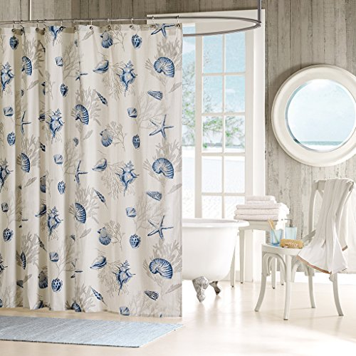 Madison Park Bayside Shower Curtain Coastal Printed 100% Cotton Sateen Fabric Modern Casual Home Bathroom Decorations, 72x72, Blue