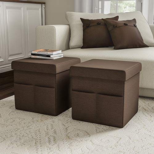 Lavish Home Foldable Storage Cube Ottoman with Pockets – Multipurpose Footrest Organizer for Bedroom, Living Room, Dorm or RV (Pair, Linen Brown),