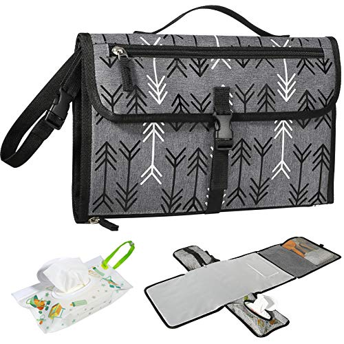 Portable Diaper Changing Pad Waterproof, Travel Changing Mat for Baby Newborn, Foldable Diaper Clutch with Built-in Head Cushion Wipes Pocket for...