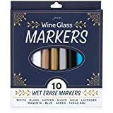 Jot & Mark Wine Glass Markers   Erasable, Write on Glass and Customize Stemware for Weddings, Banquets, and Parties (Set of 10 Colors)