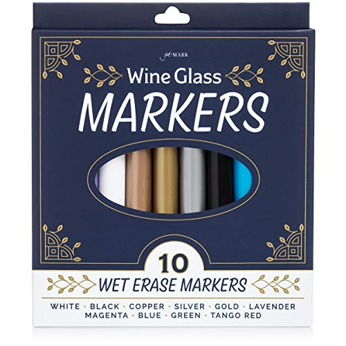 Jot & Mark Wine Glass Markers | Erasable, Write on Glass and Customize Stemware for Weddings, Banquets, and Parties (set of 10 colors)