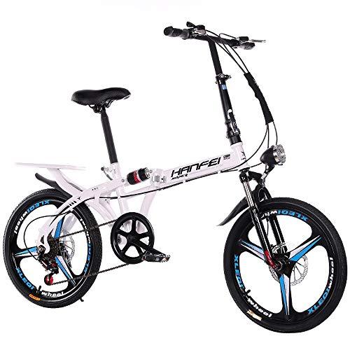 YDBET Bici de montaña Plegable de Bicicletas - Alquiler de Coches Plegable Estudiante Adulto Hombres Y Mujeres Plegable Bicicleta de la Velocidad de amortiguación de Bicicletas,Blanco,20Inch