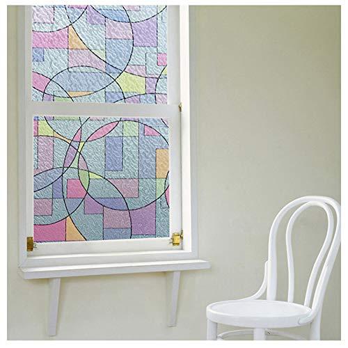 Pellicola decorativa per vetri in vetro smerigliato con motivo geometrico colorato; Adesivi statici per la protezione della privacy 90 x 100 cm