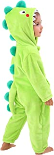 Kids Boys Dinosaur Costume Onesies with Hood Soft Animal Cartoon Fleece Pajamas Gift