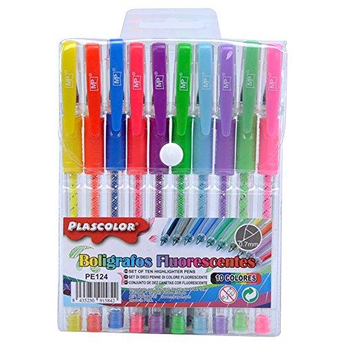 Plascolor PE124 - Pack de 10 boligrafos