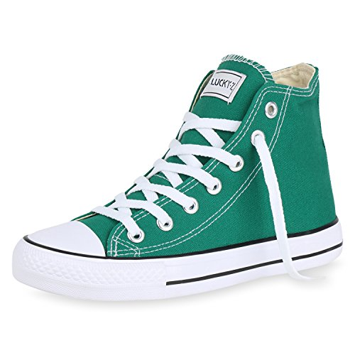 SCARPE VITA Damen High Top Sneakers Sportschuhe Stoffschuhe Kult Grün 36