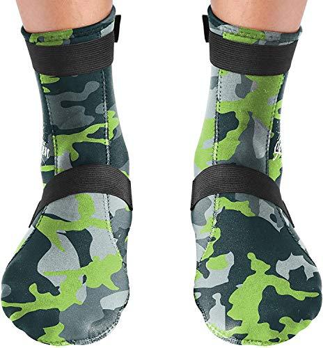 BPS Neoprene Water Socks (High Cut)-Grey Camo Neoprene w/Lilac Grey Logo - L